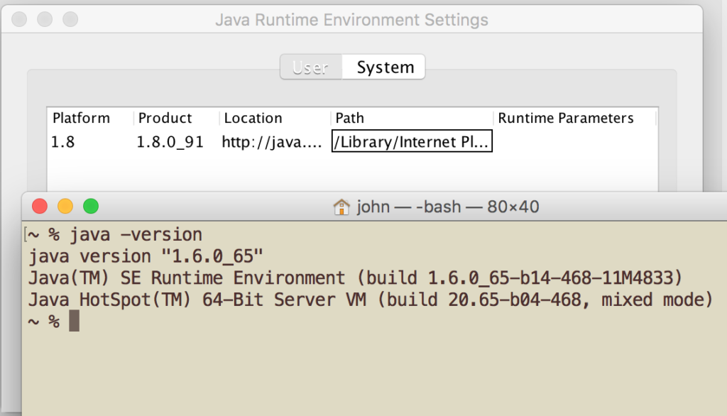 Which Java? El Capitan is conflicted.